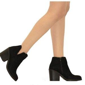 Womens Stacked Block Heel Ankle Bootie